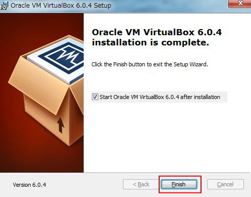 virtualboxインストール完了