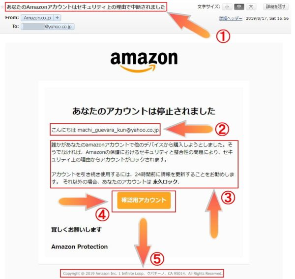 Amazonを装ったフィッシングメール