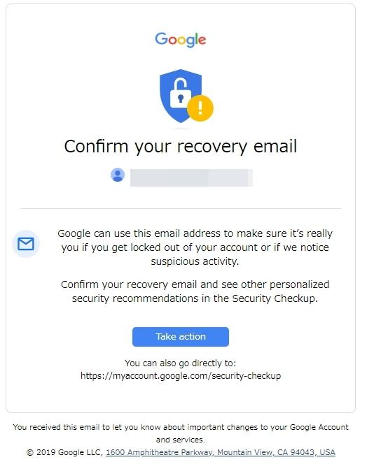 googleからHelp us protect you: Security advice from Googleタイトルのメールが来た
