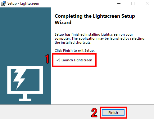 Completing the Lightscreen Setup Wizard